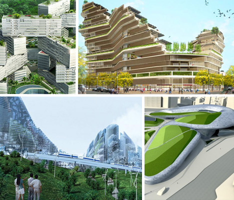 Futuristic eco housing visionary green public space for Sustainable home products