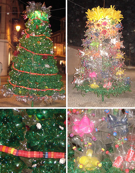 christmas trees made of recycled bottles in portugal - Recycled Christmas Tree