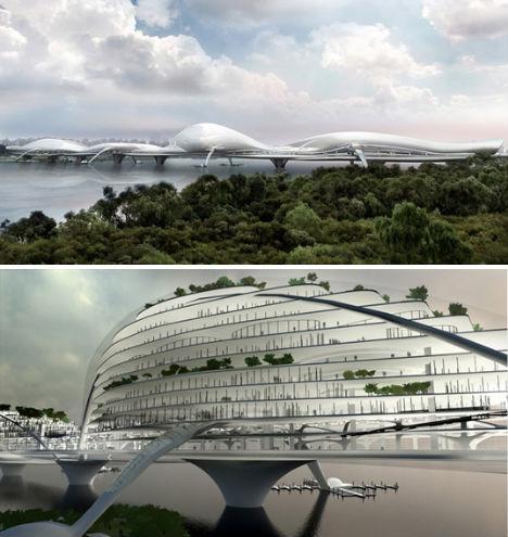 futuristic green architecture multi floor bridge webecoist