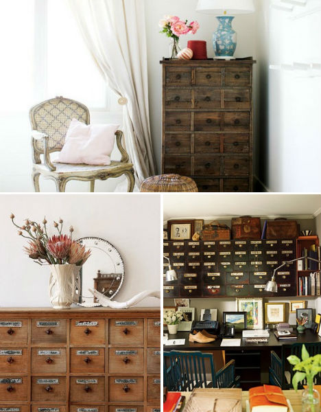 Vintage Decor Apothecary Cabinets