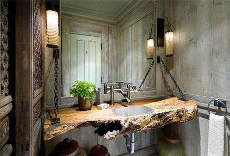 Attirant Organic Interiors Rustic Wood Bathroom Counter